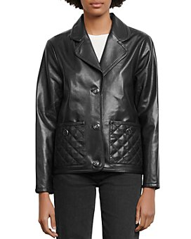Sandro - Shanon Quilted-Pocket Leather Jacket