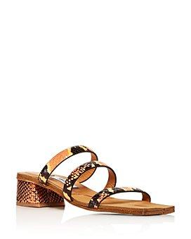 Miista - Women's Lynley Snake-Embossed Block-Heel Sandals