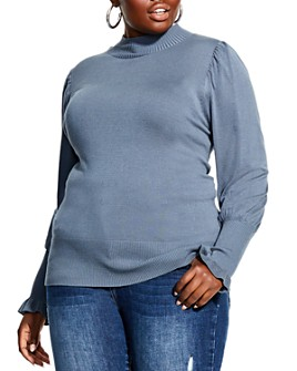 City Chic Plus - Puff-Sleeve Mock-Neck Sweater