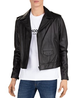 The Kooples - Cropped Leather Moto Jacket