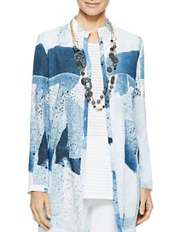 Misook - Abstract Pattern Button-Front Tunic Blouse