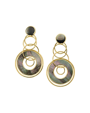 Ippolita 18K Yellow Gold Polished Rock Candy Black Shell Slice & Link Jet Set Drop Earrings