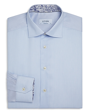 Eton Contemporary Fit Contrast Floral Print Twill Dress Shirt