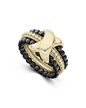 LAGOS - 18K Yellow Gold & Ceramic Caviar Stack Ring