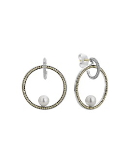 LAGOS - Sterling Silver & 18K Yellow Gold Luna Cultured Freshwater Pearl Circle Earrings