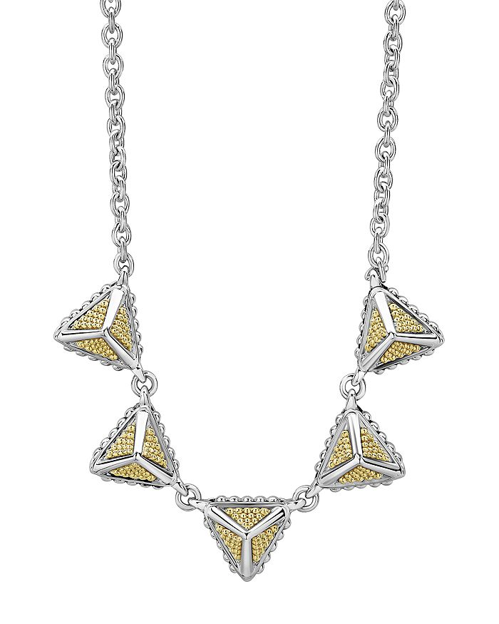 """LAGOS - Sterling Silver & 18K Yellow Gold KSL Pyramid Pendant Necklace, 18"""""""