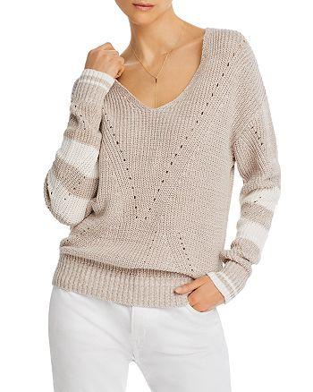 AQUA - Striped-Sleeve V-Neck Sweater - 100% Exclusive