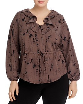 B Collection by Bobeau Curvy - Misha Tie-Dyed Ruffle Blouse