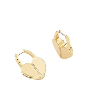kate spade new york Lock & Spade Heart Hoop Earrings