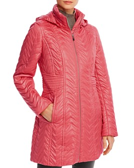Via Spiga - Detachable-Hood Zig-Zag Quilted Coat