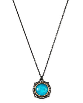 Armenta - Sterling Silver & 14K Rose Gold New World Champagne Diamond, Apatite & White Quartz Doublet Necklace, 16""