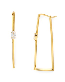 AQUA - Cubic Zirconia Hammered Rectangle Hoop Earrings in 18K Gold-Plated Sterling Silve