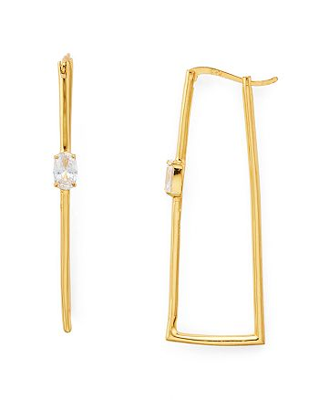 AQUA - Cubic Zirconia Hammered Rectangle Hoop Earrings in 18K Gold-Plated Sterling Silver