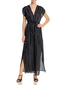 Elan - V-Neck Faux Wrap Maxi Dress