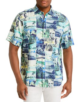 Tommy Bahama - Island Snapshot Regular Fit Short-Sleeve Silk Shirt