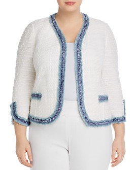 NIC and ZOE Plus - Fringe-Trim Textured Open Jacket