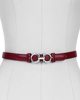 Salvatore Ferragamo - Women's Gancini Slim Leather Belt