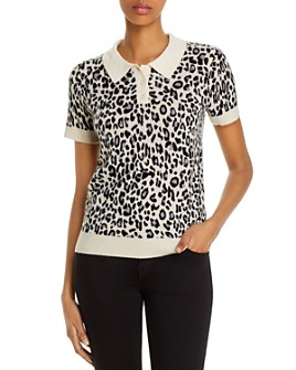 C by Bloomingdale's - Cashmere Leopard-Print Polo Sweater - 100% Exclusive