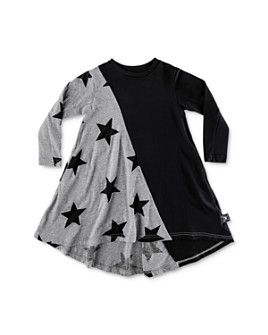 NUNUNU - Girls' Color-Block Star Print Dress - Little Kid, Big Kid