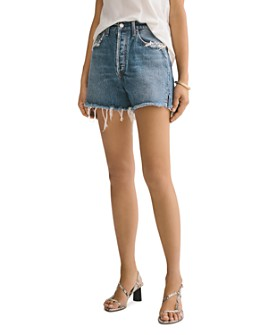 AGOLDE - Dee Cotton Frayed Denim Shorts in Precision