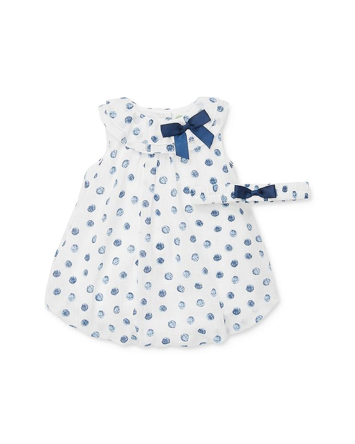 Little Me - Girls' Blue Dot Bubble Romper & Headband Set - Baby