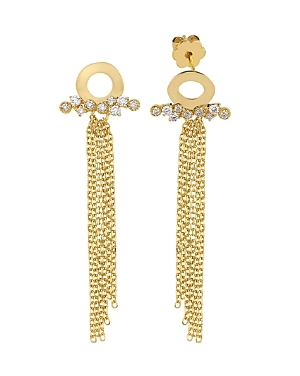 Own Your Story 14K Yellow Gold Nature Diamond Waterfall Drop Earrings
