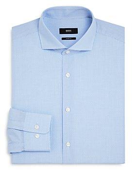BOSS - Mark Dotted-Grid Regular-Fit Dress Shirt
