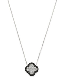 Bloomingdale's - Black & White Diamond Clover Pendant Necklace in 14K White Gold - 100% Exclusive