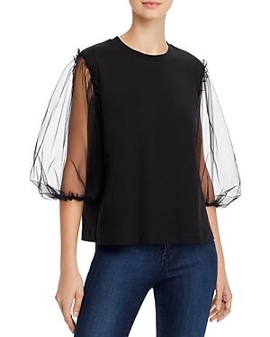 Msgm Cotton Sheer Balloon-Sleeve T-Shirt