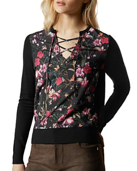 Ted Baker - Fern Forest Woven-Front Sweater
