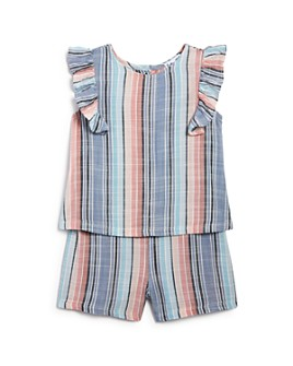 Splendid - Girls' Striped Ruffled Romper - Baby
