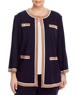 Misook Plus - Plus Contrast-Trim Knit Jacket