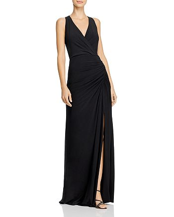 Adrianna Papell - Embellished Faux-Wrap Mermaid Gown