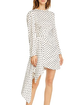 Keepsake - Foolish Draped Polka-Dot Mini Dress
