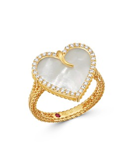 Roberto Coin - 18K Yellow Gold Mother-of-Pearl & Diamond Heart Statement Ring - 100% Exclusive