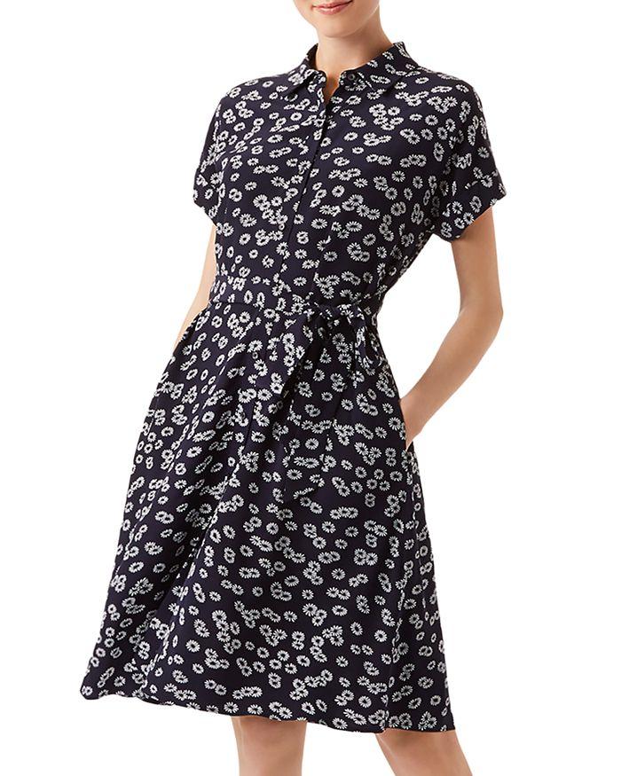 Hobbs London Aurelia Daisy Print Shirt Dress In Navy Ivory