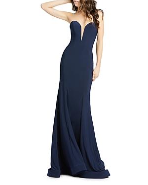Mac Duggal Strapless Bustier Gown-Women