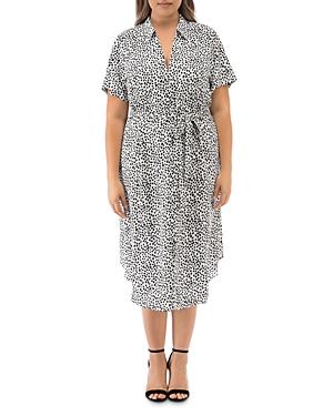 B Collection by Bobeau Curvy Larson Printed Shirt Dress