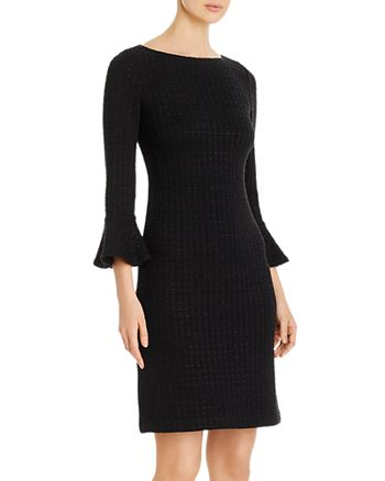 St. John - Ribbon-Textured Windowpane Knit Dress