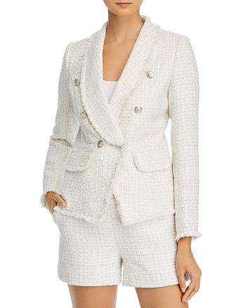 AQUA - Tweed Double-Breasted Blazer