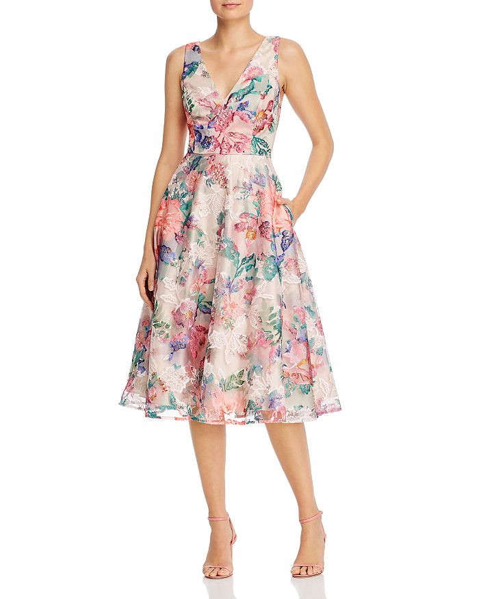 Eliza J - Embroidered Lace Midi Dress