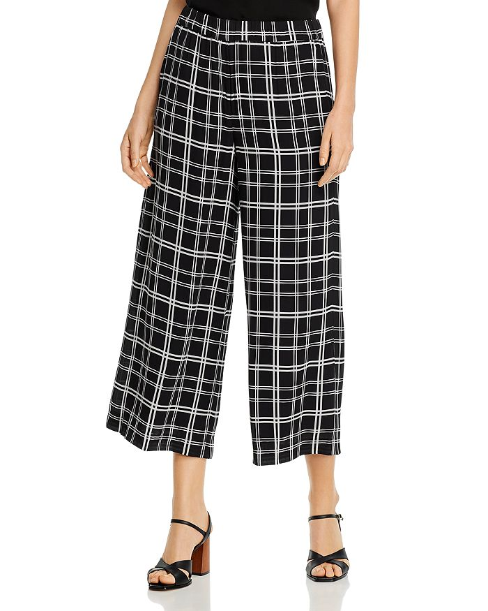 Elie Tahari HEIDI PLAID WIDE-LEG PANTS