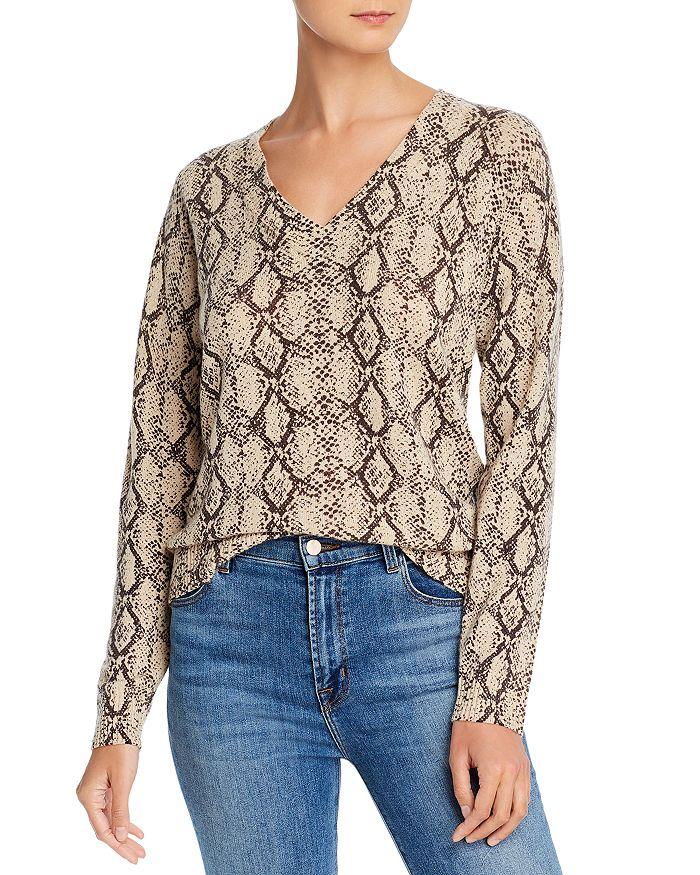 Minnie Rose - V-Neck Snakeskin-Print Cashmere Sweater