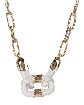 "Alexis Bittar - Lucite & Crumpled Chain Link Statement Necklace, 18"""
