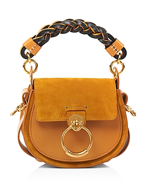 Chloe Tess Small Braided Leather & Suede Shoulder Bag-Handbags