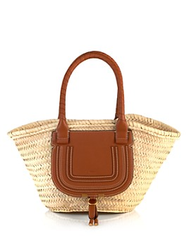 Chloé - Marcie Medium Leather & Raffia Tote