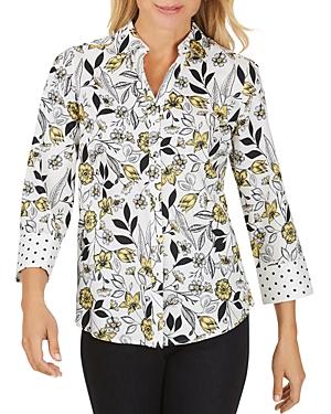 Foxcroft Floral Toile Cotton Sateen Top-Women