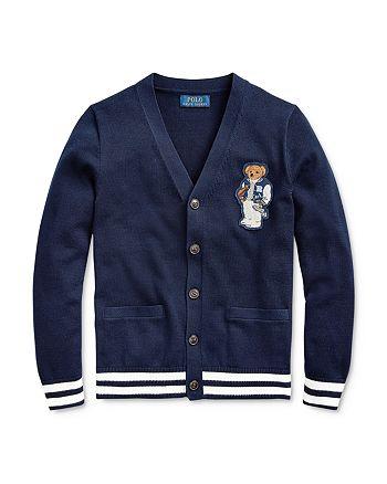 Ralph Lauren - Boys' Football Bear Cotton Cardigan - Big Kid