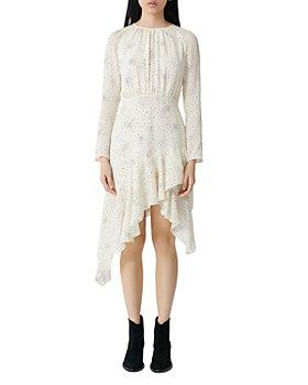 Maje - Flowing Dot-Print Asymmetrical-Hem Dress