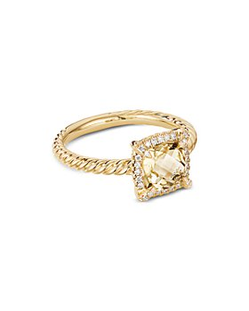 David Yurman - Petite Châtelaine® Pavé Bezel Ring in 18K Yellow Gold with Champagne Citrine